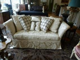 Cream brocade silk upholstered sofa