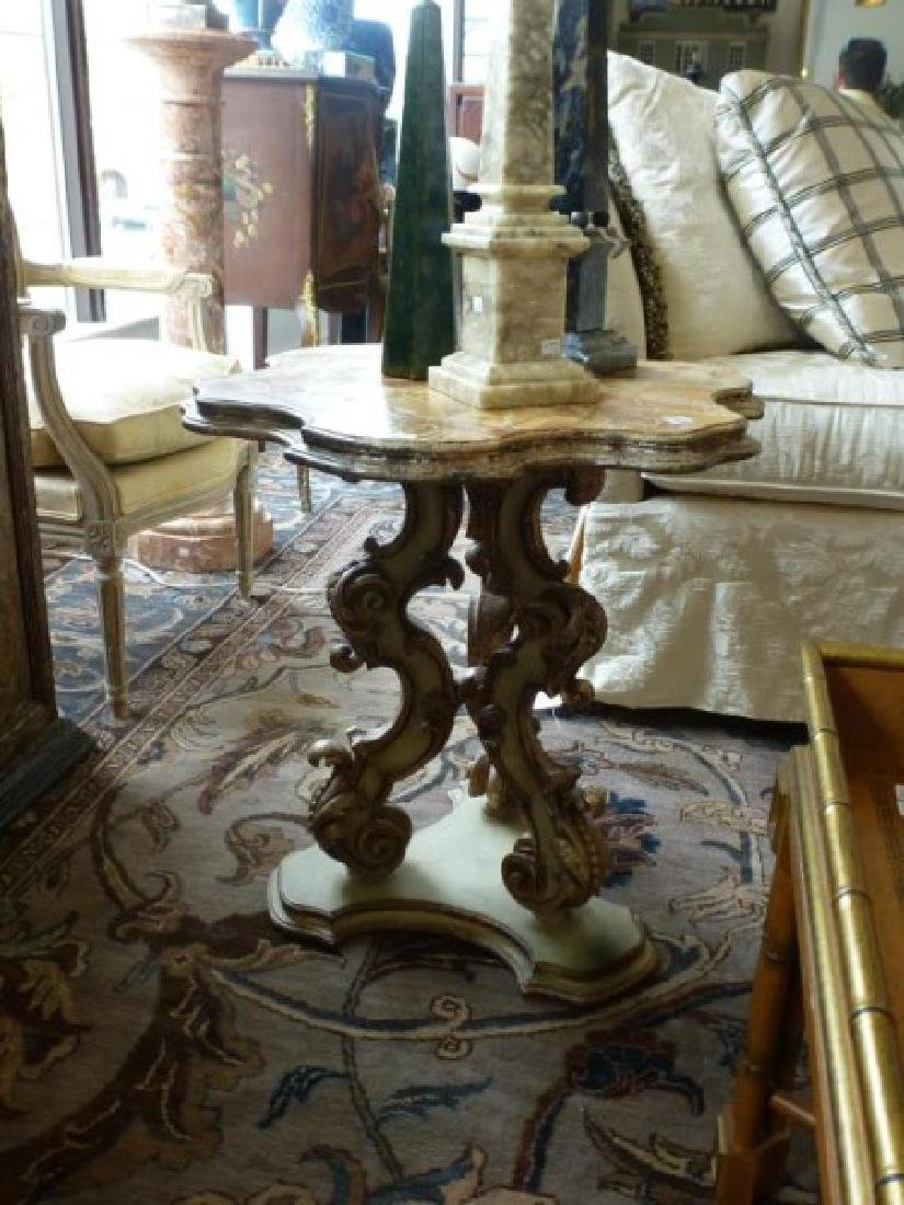 French Painted Pedestal Table with Faux Marble Top