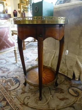 Pair of Circular Side Tables with Sun inlay Tops