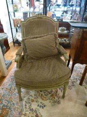 Pair French carved and upholstered bergere chairs