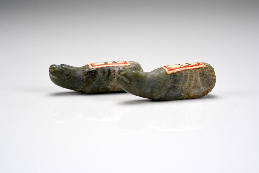 PAIR OF CHINESE JADE RITUAL BURIAL BUFFALO