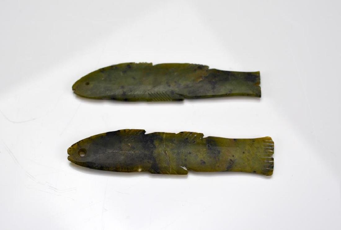 PAIR OF CHINESE GREEN JADE FISH PENDANTS