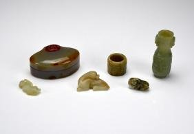 Six Chinese Jade And Agate Carved Pieces