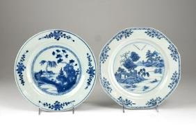 TWO CHINESE EXPORT BLUE AND WHITE DISHES