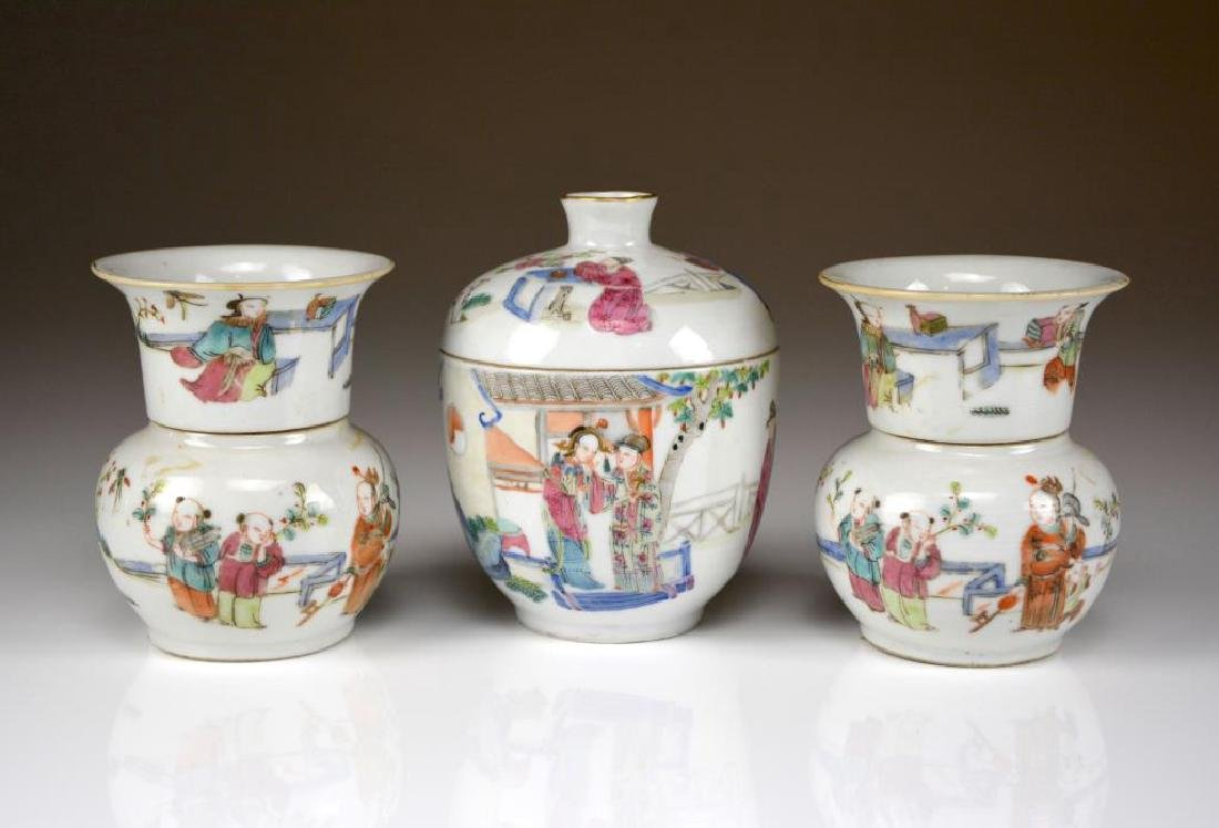 THREE PIECES OF CHINESE FAMILLE ROSE PORCELAIN