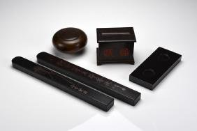 FIVE WOOD CARVED SCHOLAR'S ITEMS