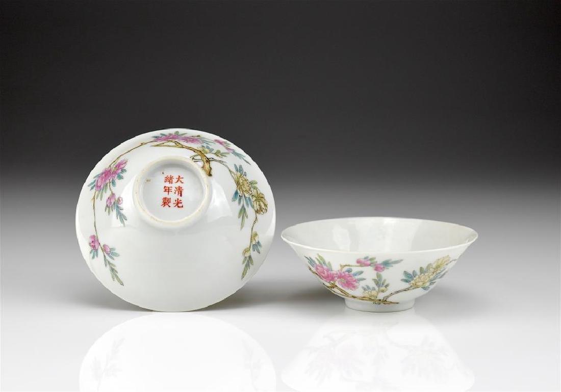 PAIR OF GUANGXU FAMILLE ROSE PORCELAIN TEA CUPS