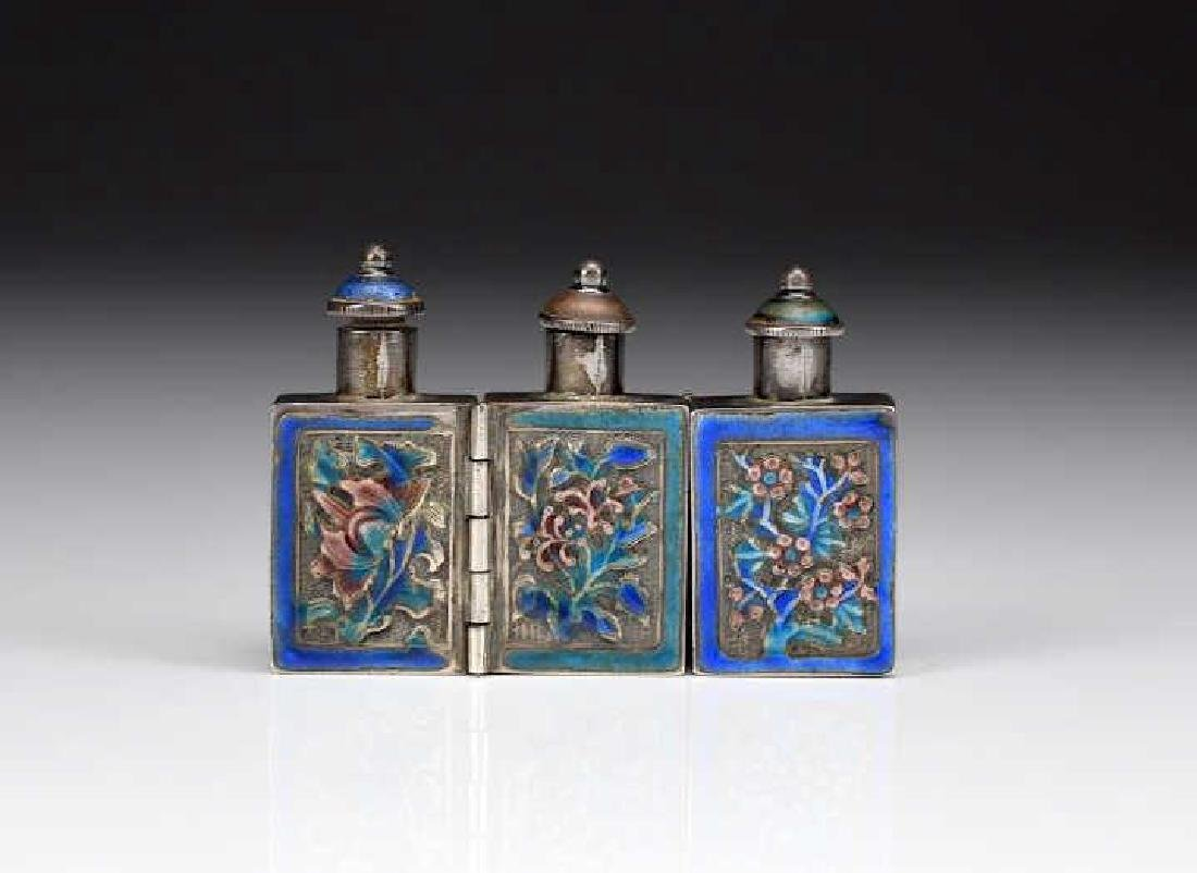 CHINESE EXPORT SILVER TRIPLE SNUFF BOTTLE