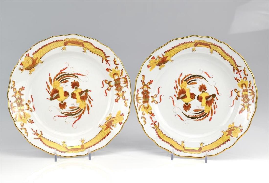 Pair of Meissen yellow Opulent Court Dragon plates