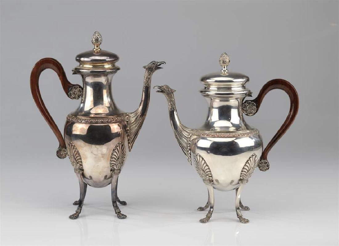 French silver plate footed teapot and coffee pot