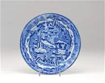 19th C English blue and white transferware dish