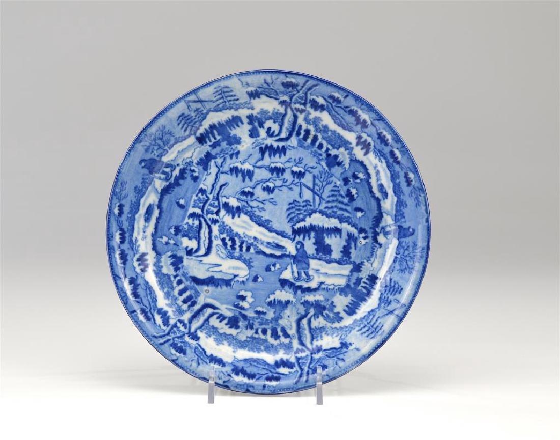 19th C English blue and white transferware dish