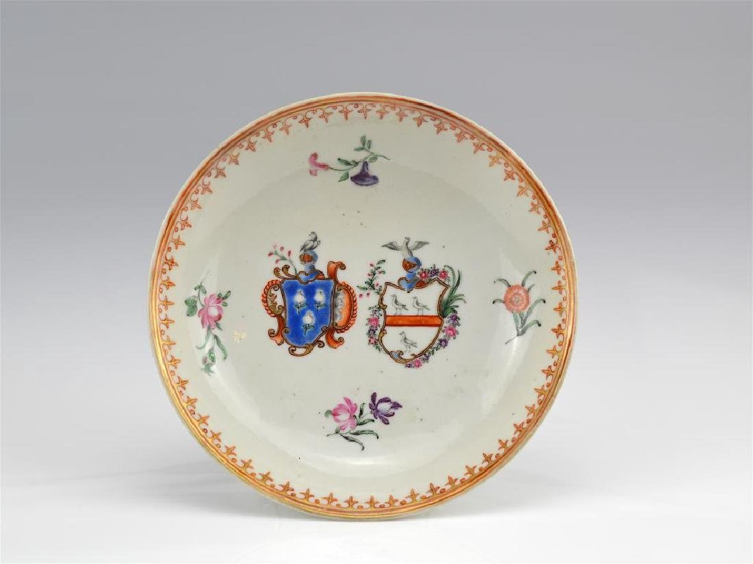 Chinese export armorial porcelain saucer