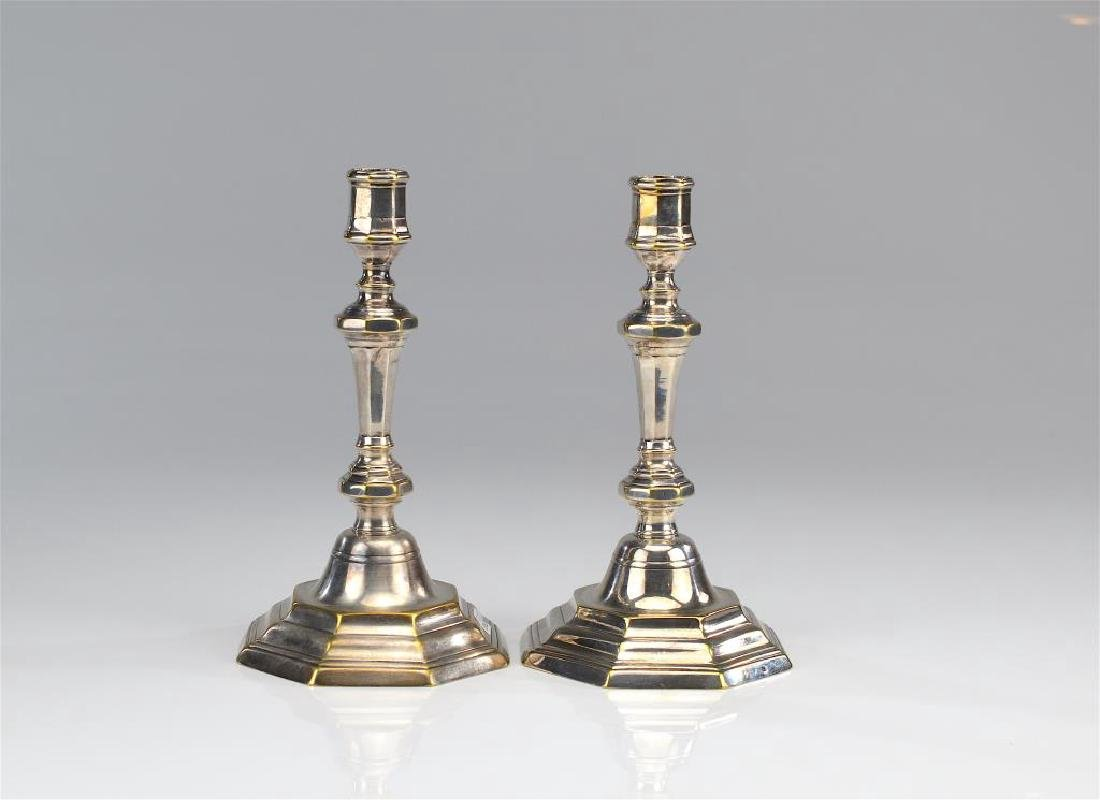 Pair of 18th C French silver plate candlesticks
