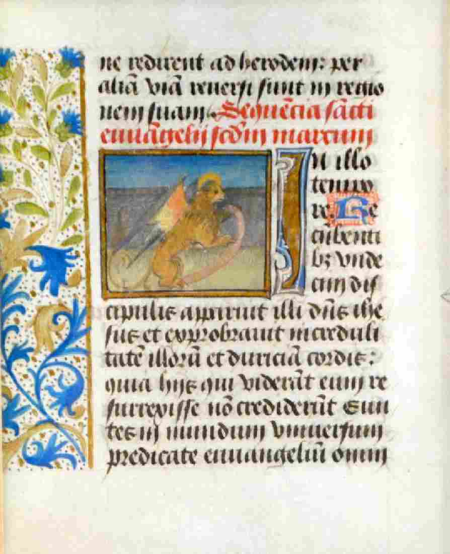15th C Flemish illuminated leaf on vellum
