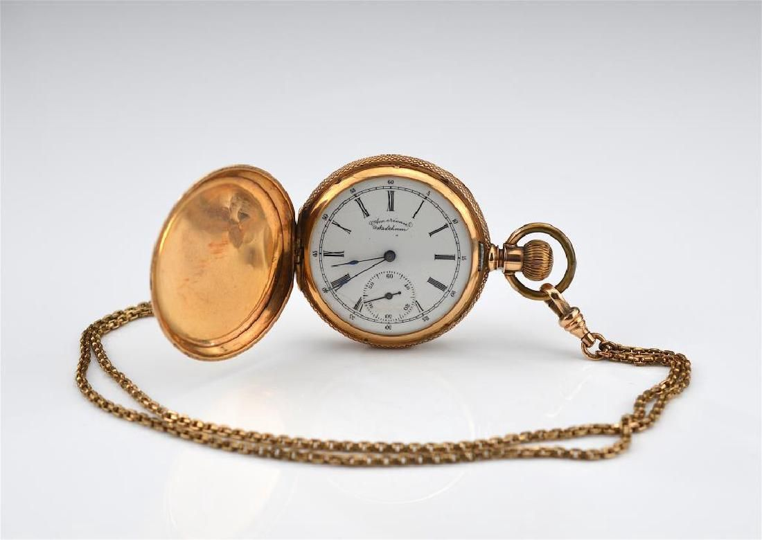 Waltham ladies gold hunter pocket watch & case