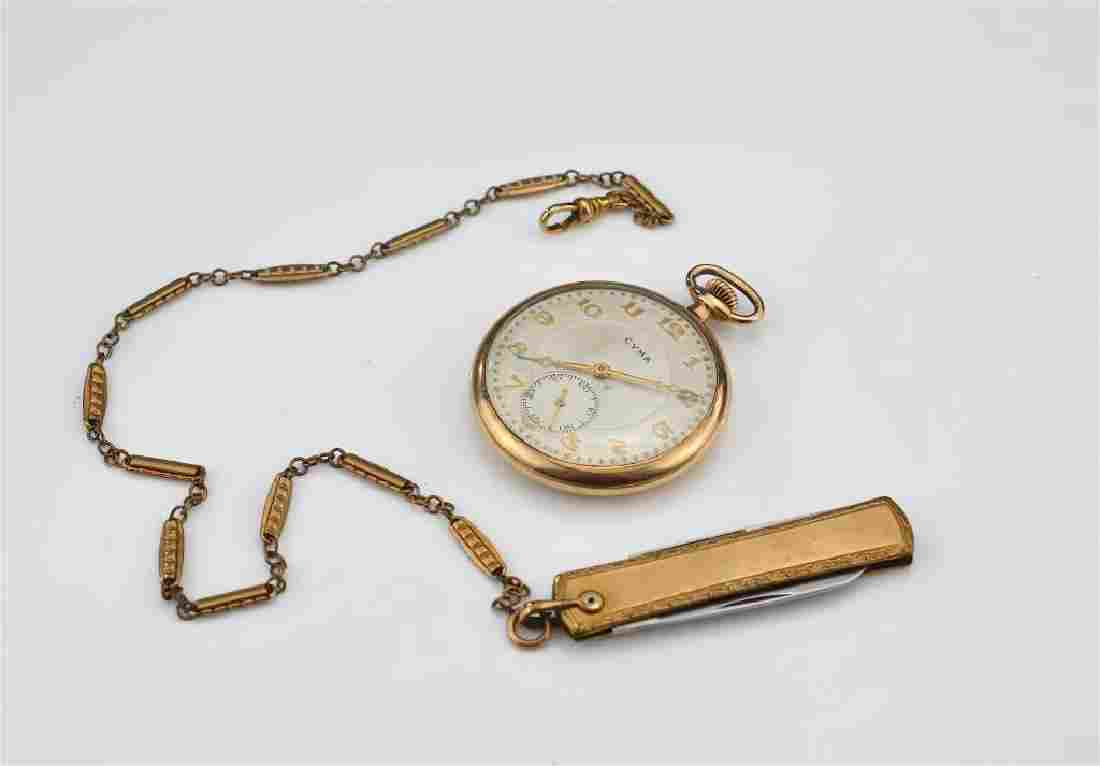Cyma gold-plated pocket watch and chain