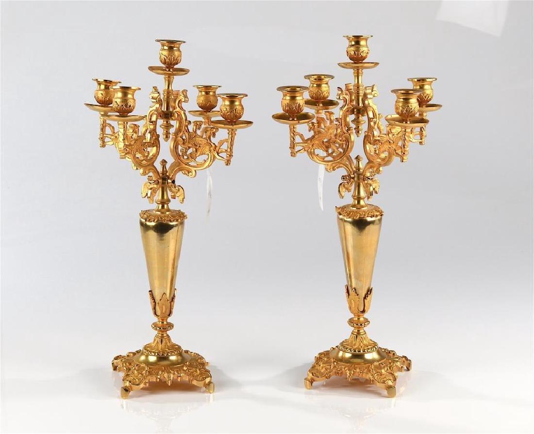 Pair of gilt metal candelabra