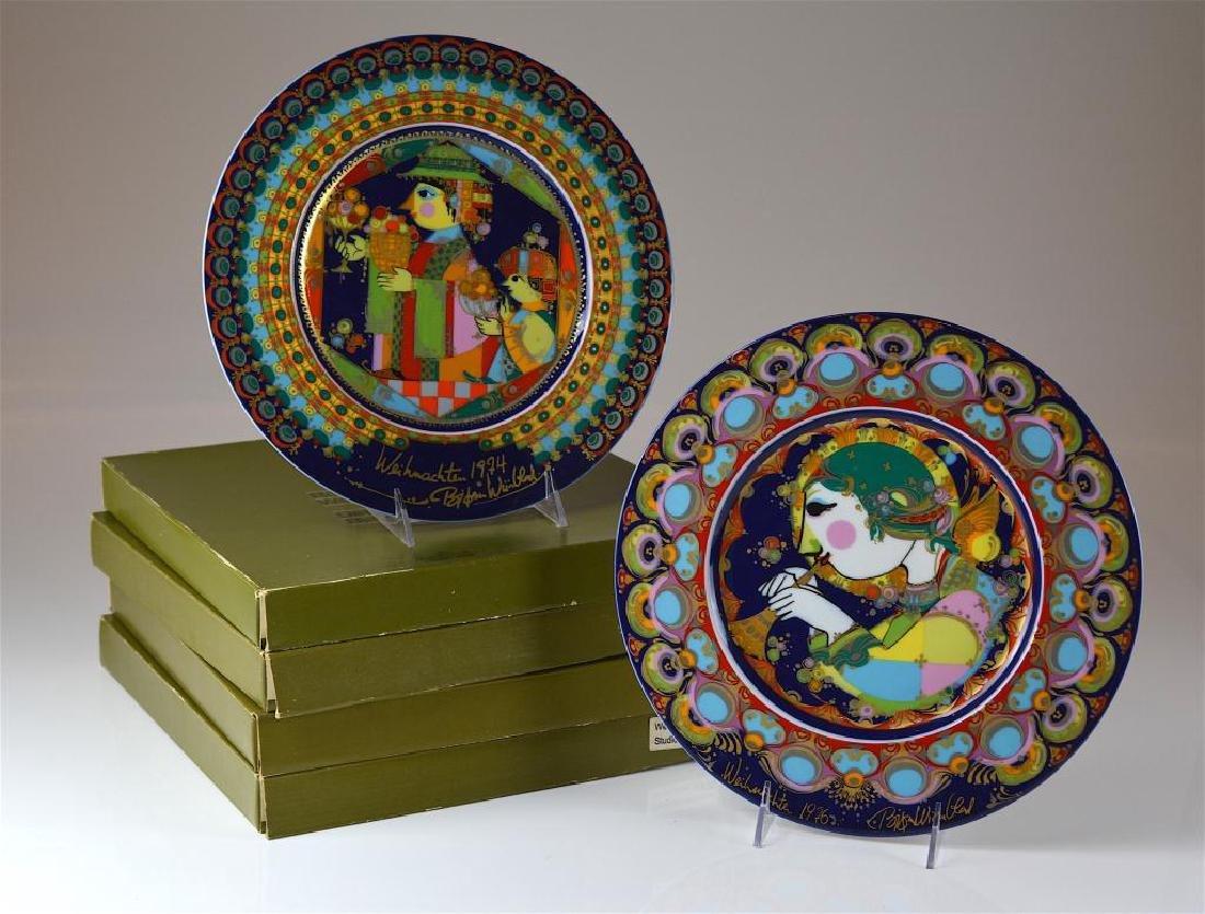 Twelve Rosenthal Bjorn Wiinblad Christmas plates