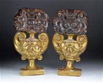 PAIR OF CONTINENTAL CARVED WALL PLAQUES