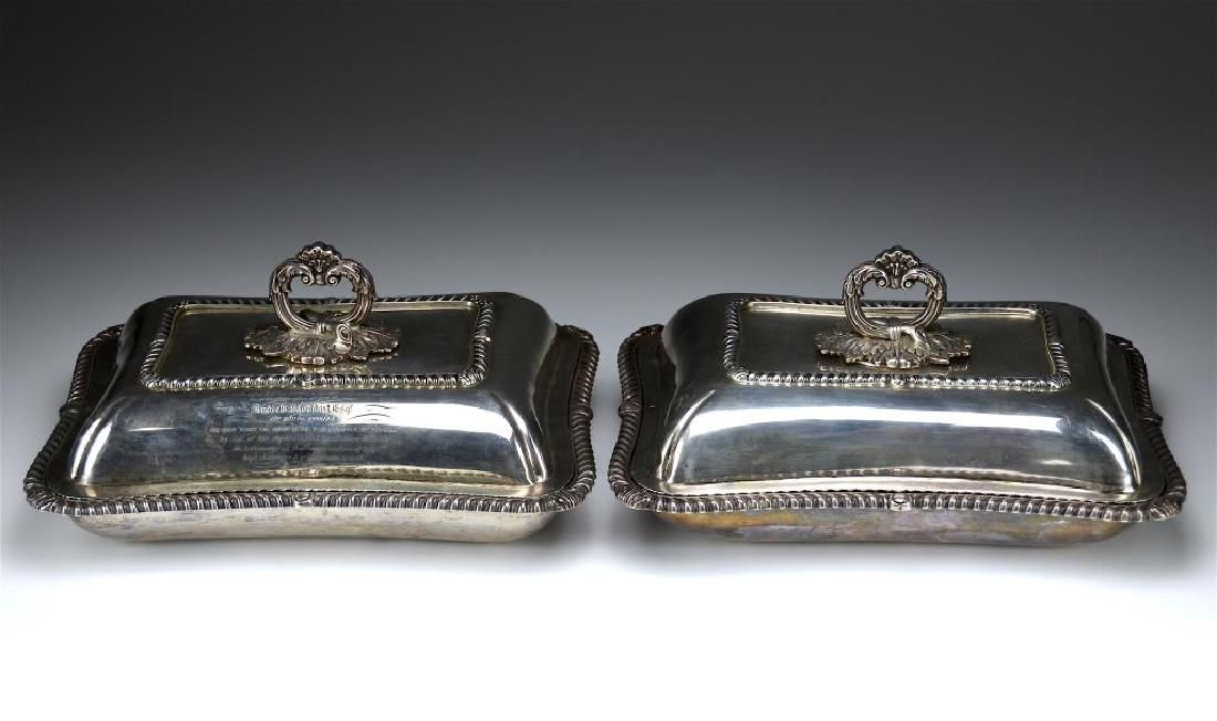 NEAR PAIR OF ENGLISH SILVER COVERED ENTREE DISHES