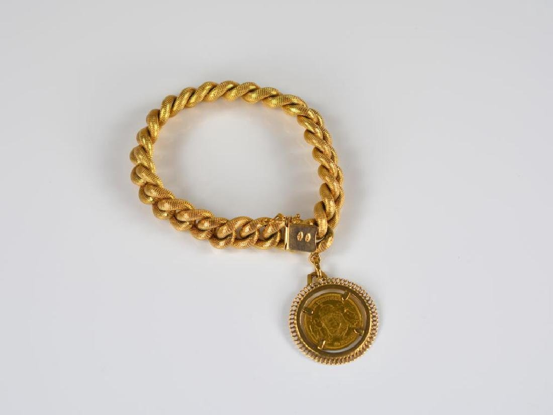18k yellow gold link bracelet with Hungarian coin