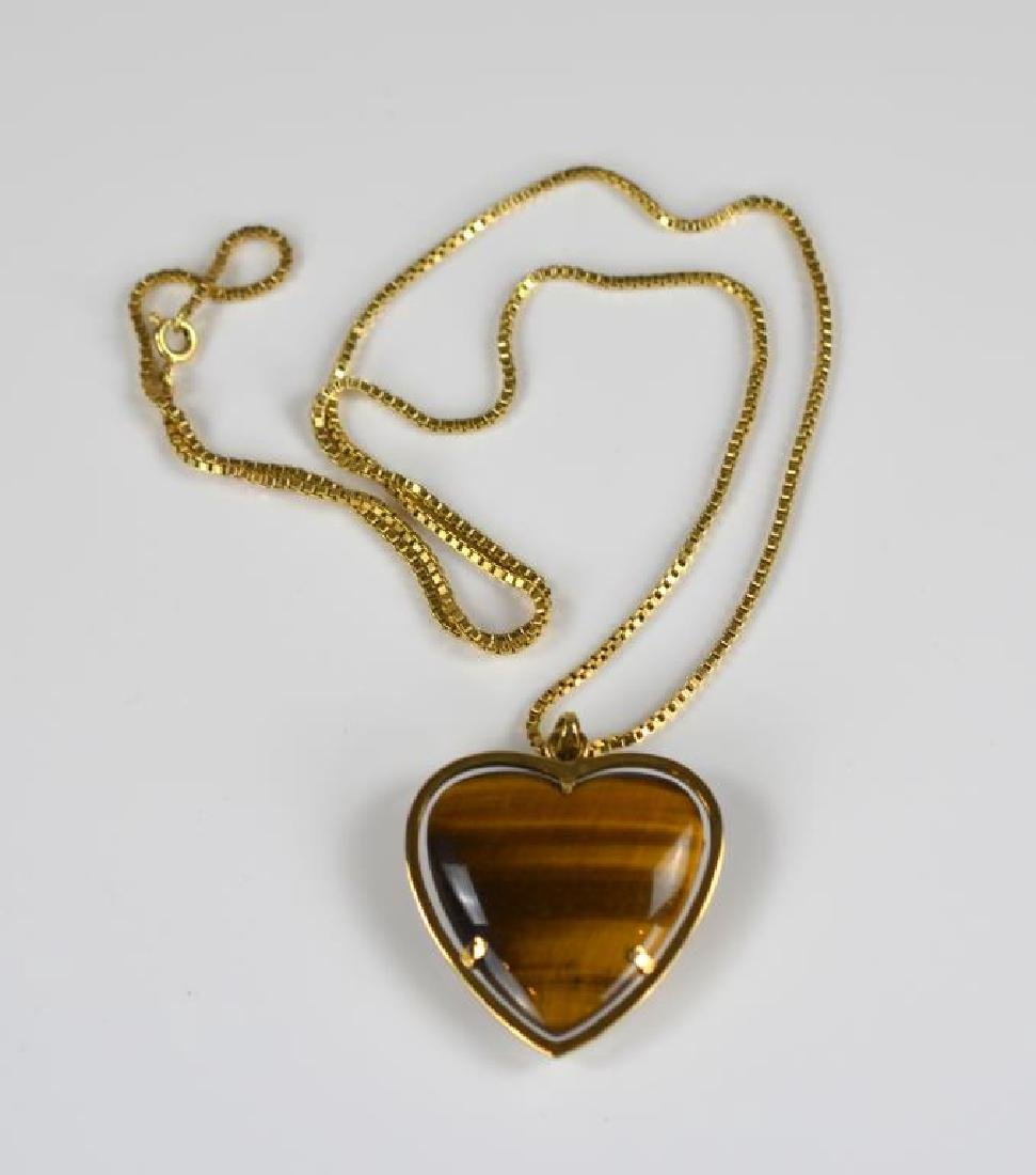 Gold and tiger's eye heart pendant and gold chain