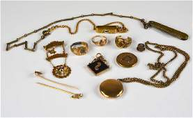 Lot of antique gold and gold-filled jewellery