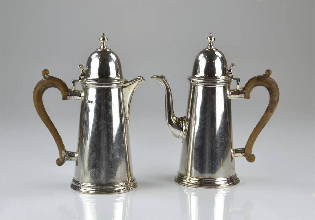 English silver coffee pot and hot water pot