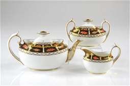 Three piece Royal Crown Derby porcelain tea set