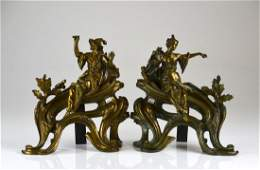 Pair of French figural bronze chenets
