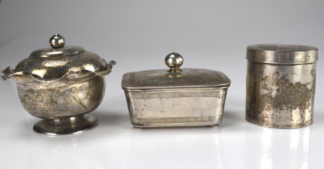 THREE CHINESE EXPORT SILVER COVERED CONTAINERS