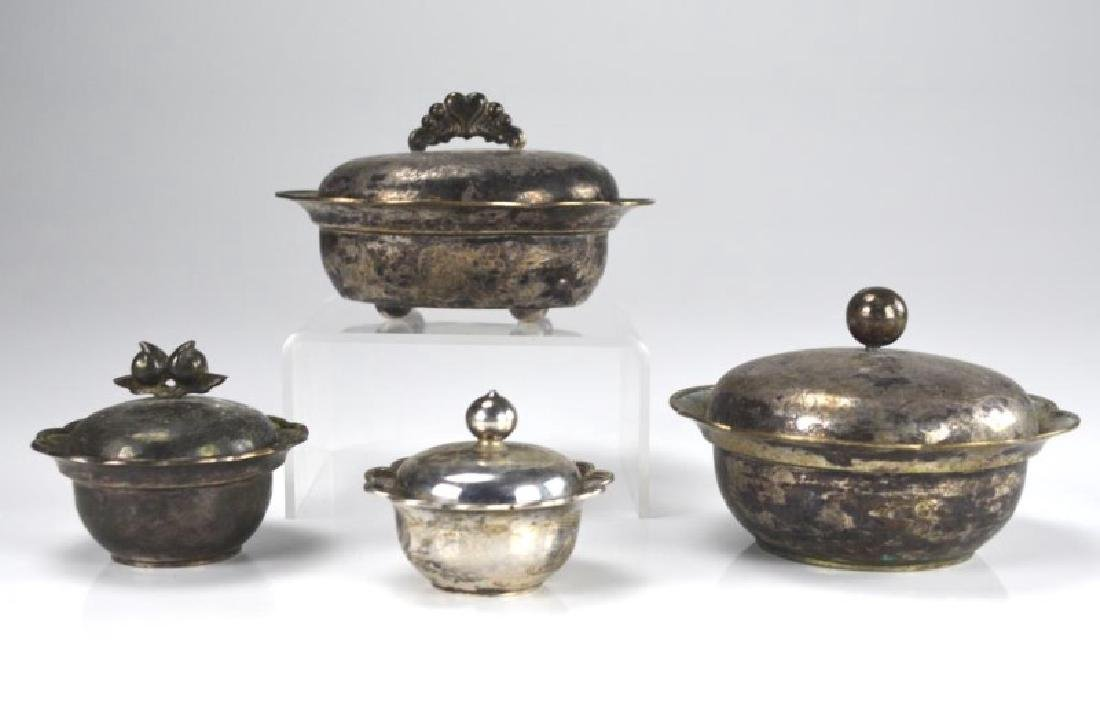 FOUR CHINESE EXPORT SILVER COVERED CONTAINERS