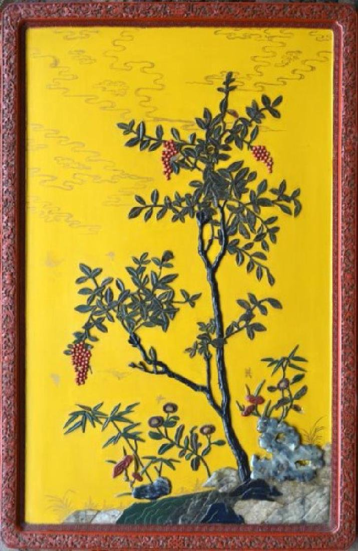 CHINESE CINNABAR LACQUER FRAME INLAYED WALL PLAQUE