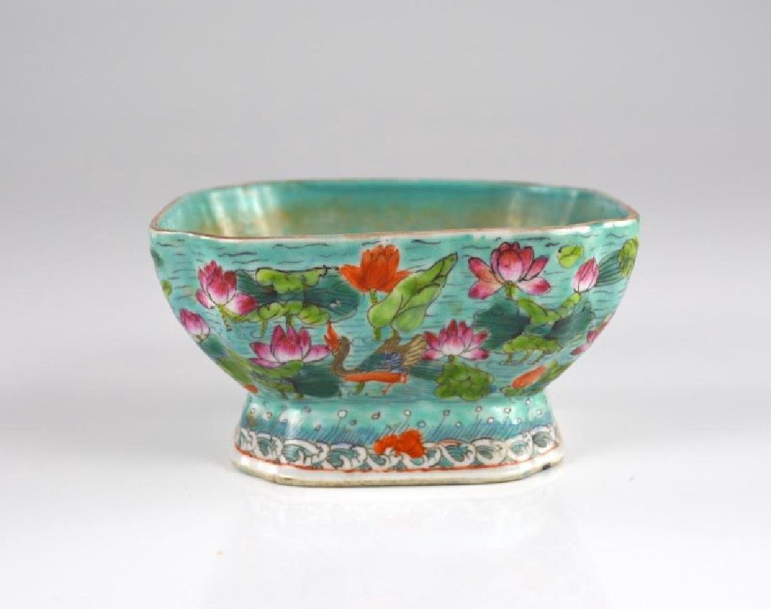 TURQUOISE GROUND FAMILLE ROSE PORCELAIN BOWL
