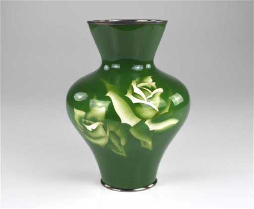 Japanese Green Ando Cloisonne Enamelled Vase