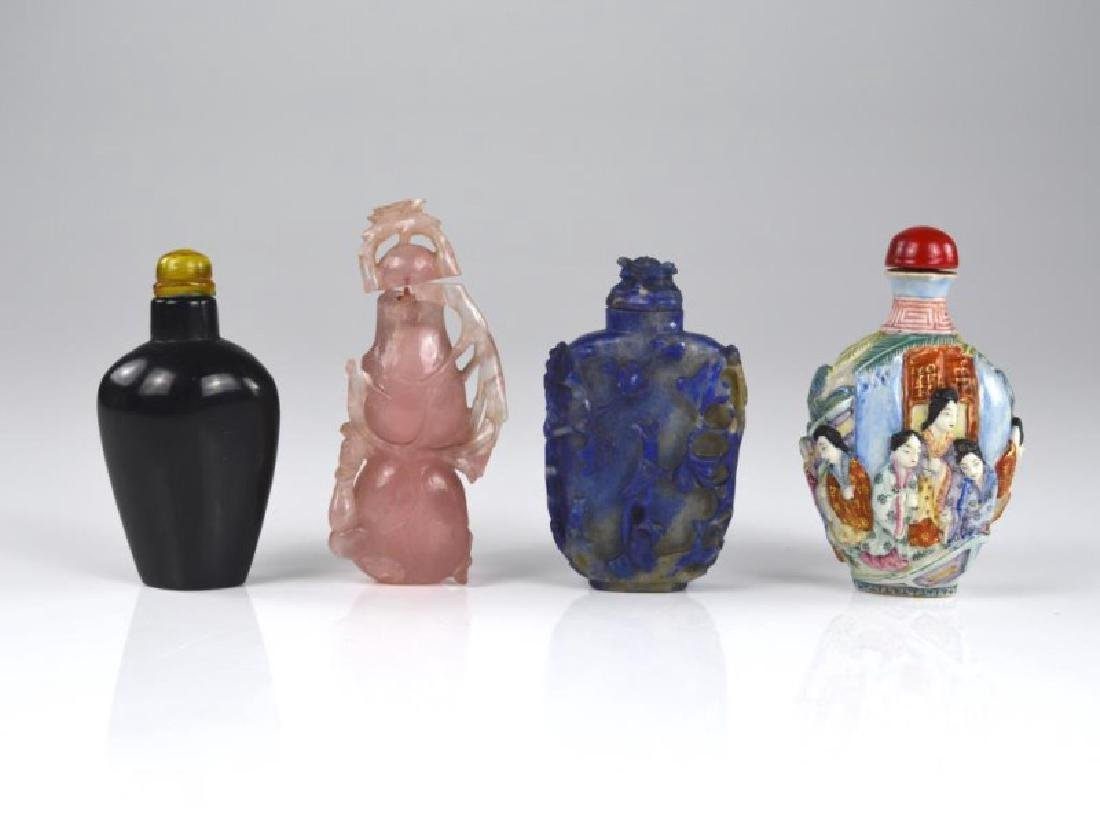 GROUP OF FOUR CHINESE SNUFF BOTTLES