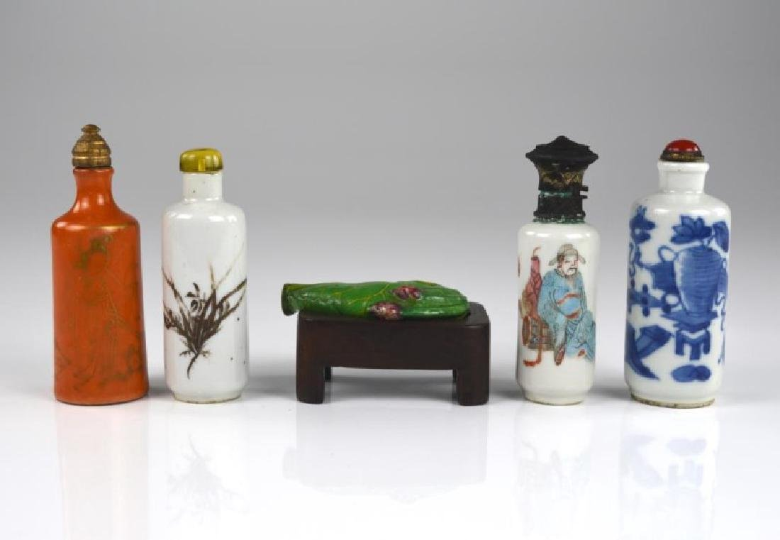 GROUP OF FIVE CHINESE PORCELAIN SNUFF BOTTLES