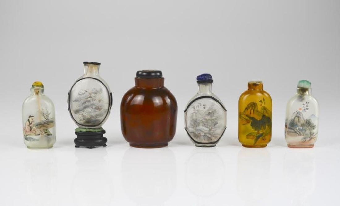 GROUP OF SIX INSIDE PAINTED GLASS SNUFF BOTTLES