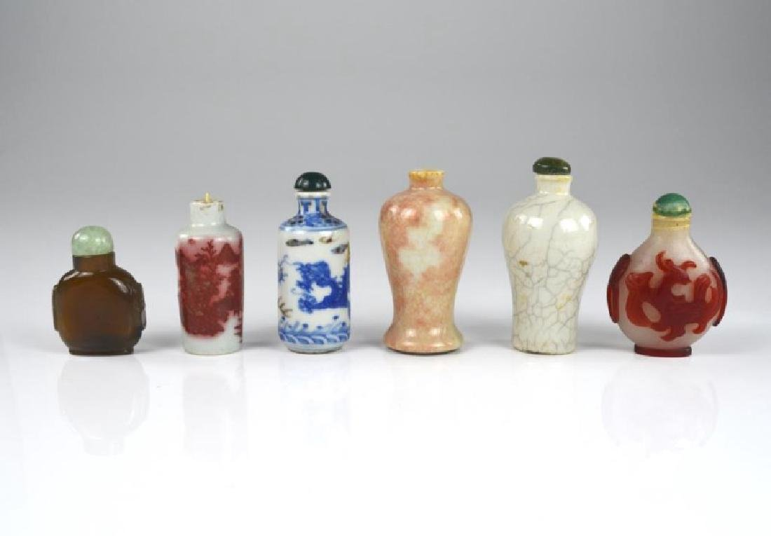 GROUP OF SIX CHINESE SNUFF BOTTLES