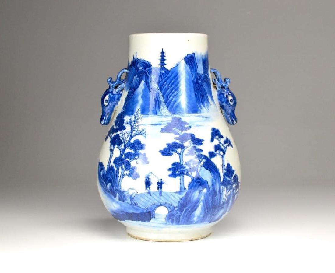 CHINESE BLUE & WHITE PORCELAIN DEER HU VASE