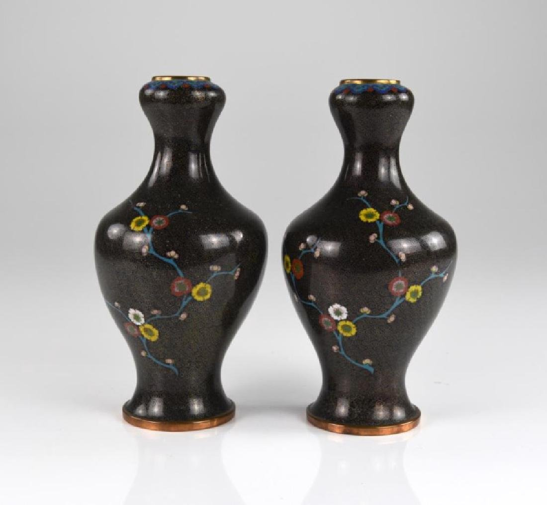 PAIR OF CHINESE CLOISONNE ENAMELLED VASES
