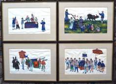 FOUR CHINESE EXPORT PITH GOUACHE PAINTINGS