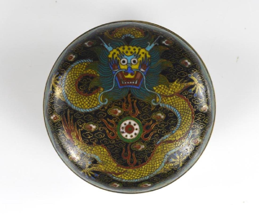CHINESE CIRCULAR CLOISONNE COVERED BOX