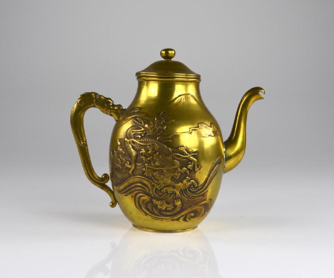 CHINESE BRASS DRAGON THEMED TEAPOT