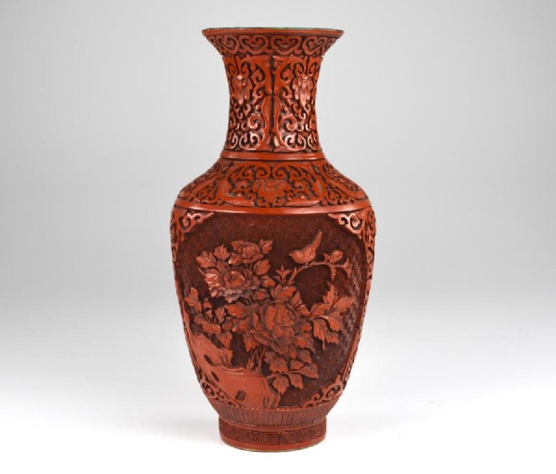 CHINESE CINNABAR LACQUER VASE
