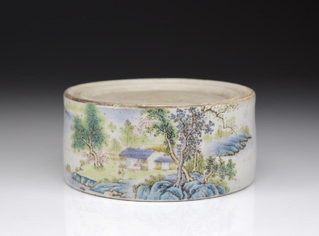 CHINESE REPUBLICAN FAMILLE ROSE PORCELAIN INKSTONE