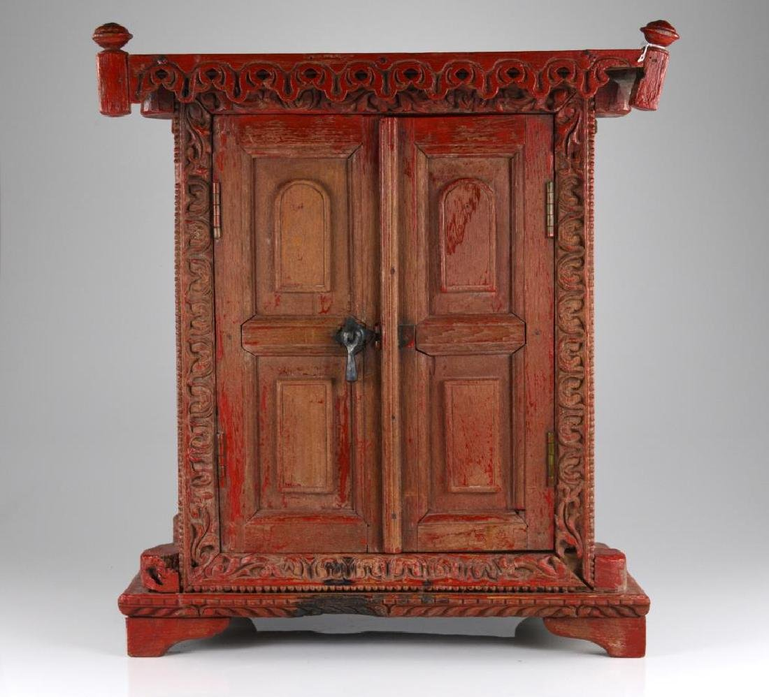 CHINESE RED WOODEN SHRINE