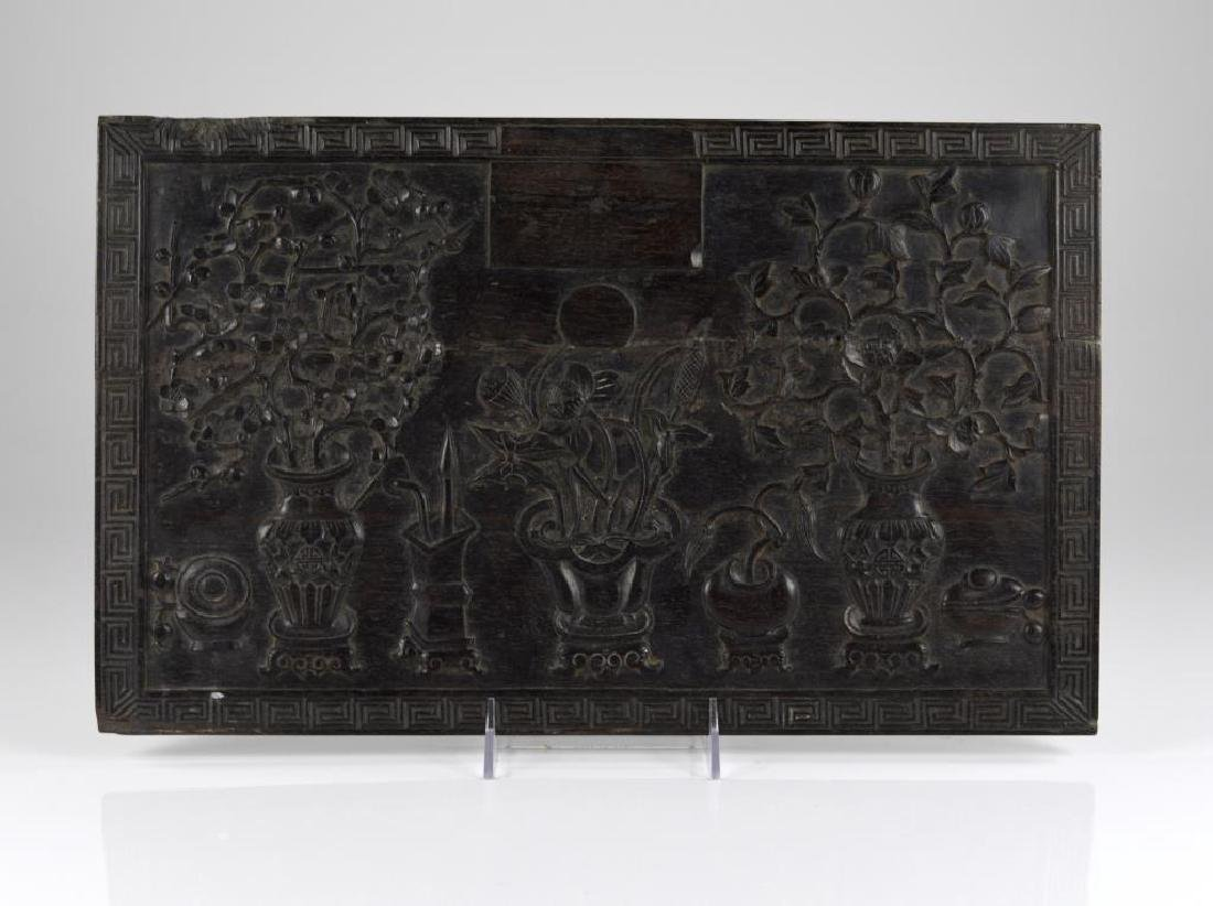 CHINESE ZITAN WOOD CARVED PANEL