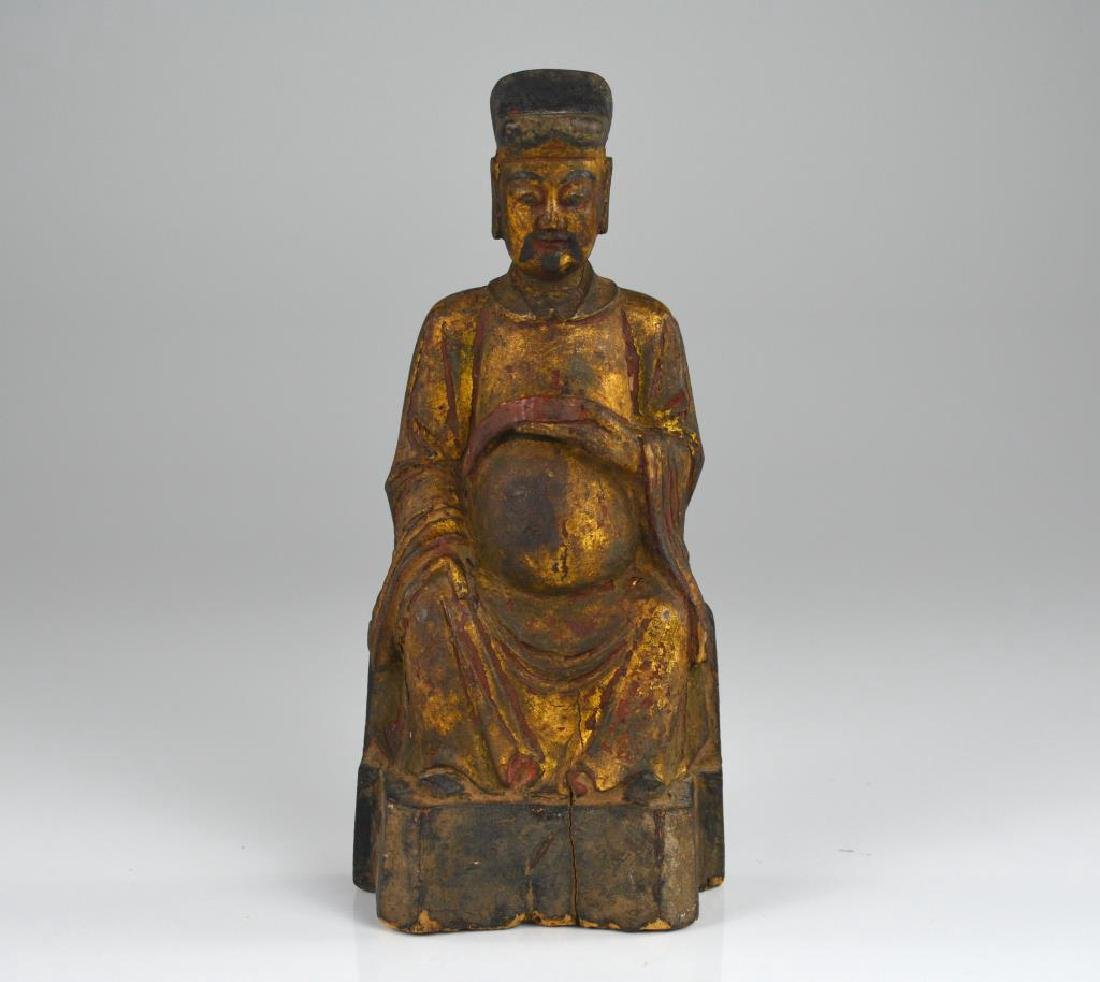 CHINESE POLYCHROME WOODEN SCHOLAR OFFICIAL FIGURE